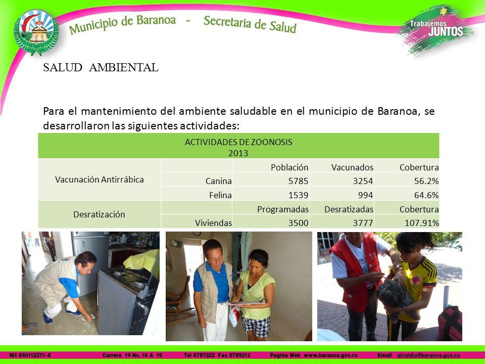 SALUD AMBIENTAL Para el mantenimiento del ambiente saludable en el municipio de Baranoa, se desarrollaron las siguientes actividades: ACTIVIDADES DE ZOONOSIS 2013 Vacunación Antirrábica PoblaciónVacunadosCobertura Canina5785325456.2% Felina153999464.6% Desratización ProgramadasDesratizadasCobertura Viviendas35003777107.91%
