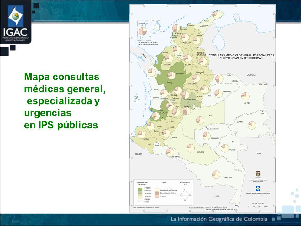 Mapa consultas médicas general, especializada y urgencias en IPS públicas