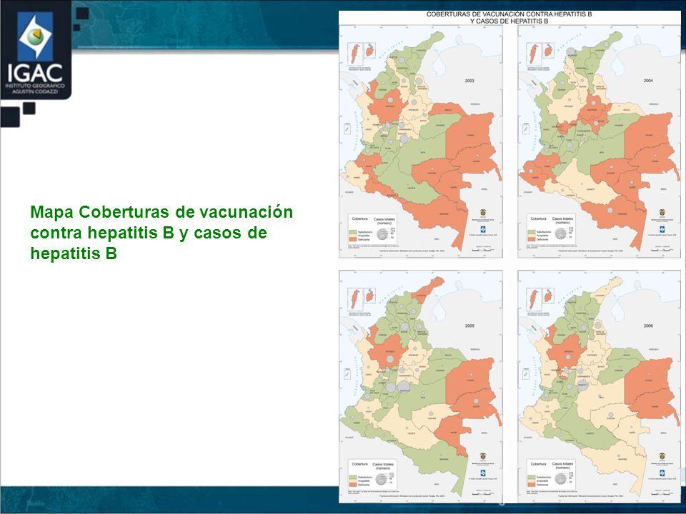 Mapa Coberturas de vacunación contra hepatitis B y casos de hepatitis B