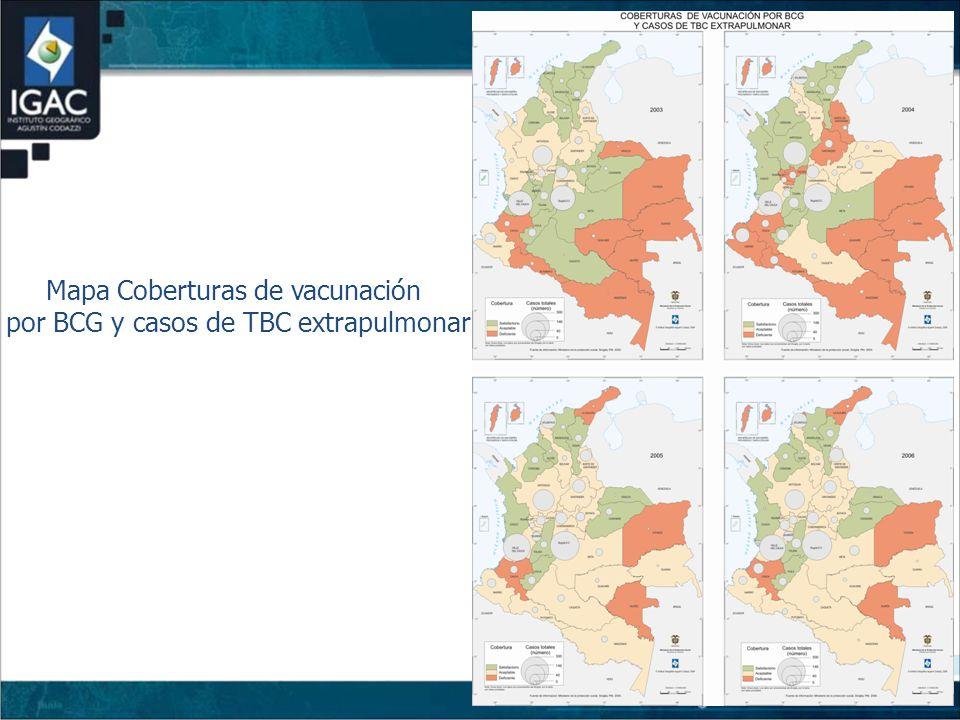 Mapa Coberturas de vacunación por BCG y casos de TBC extrapulmonar