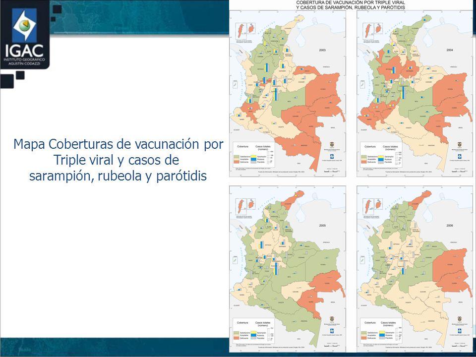 Mapa Coberturas de vacunación por Triple viral y casos de sarampión, rubeola y parótidis