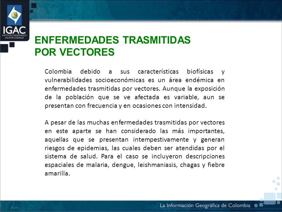 ENFERMEDADES TRASMITIDAS POR VECTORES Colombia debido a sus características biofísicas y vulnerabilidades socioeconómicas es un área endémica en enfermedades trasmitidas por vectores.