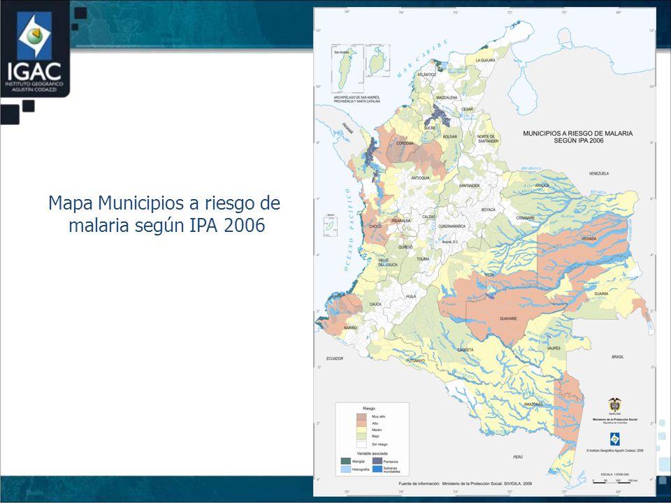 Mapa Municipios a riesgo de malaria según IPA 2006