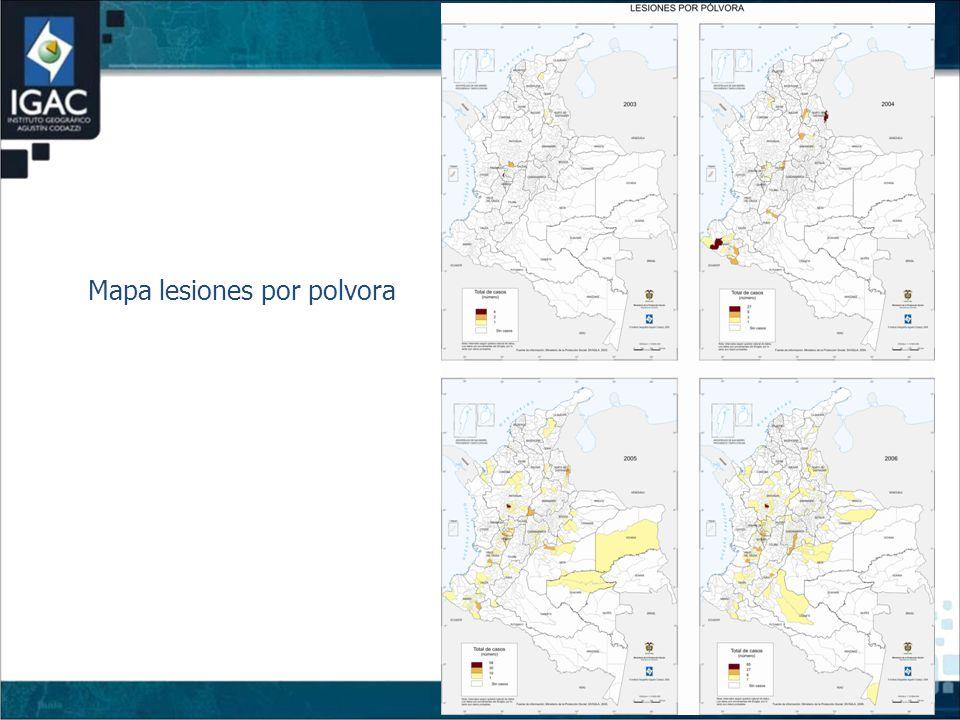 Mapa lesiones por polvora