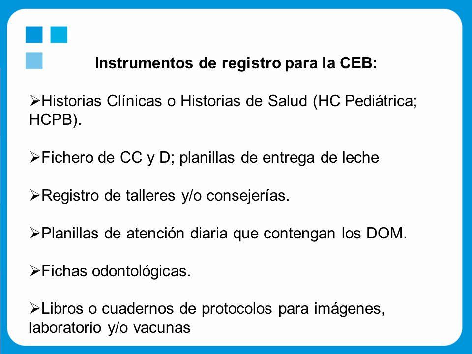 Instrumentos de registro para la CEB:  Historias Clínicas o Historias de Salud (HC Pediátrica; HCPB).