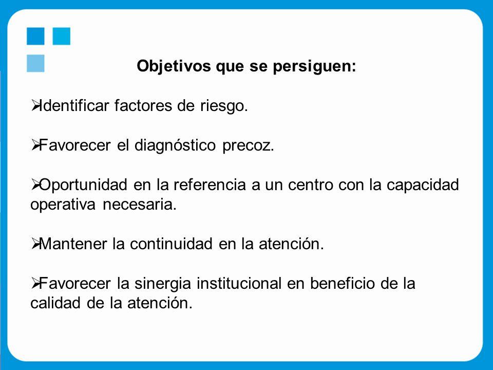 Objetivos que se persiguen:  Identificar factores de riesgo.