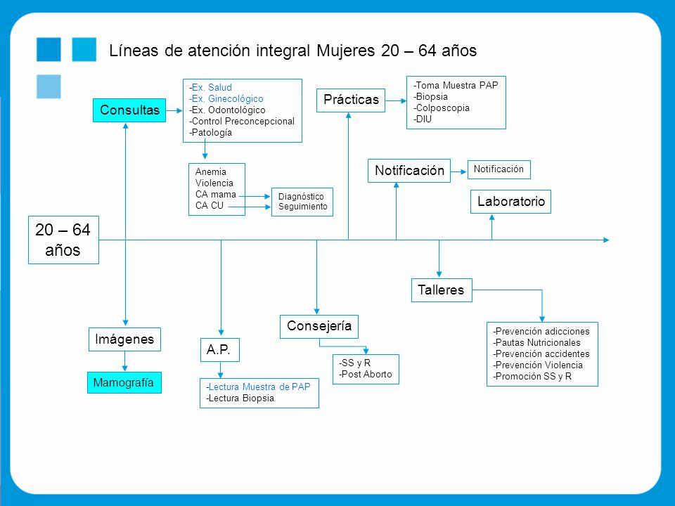 Líneas de atención integral Mujeres 20 – 64 años 20 – 64 años Consultas -Ex.