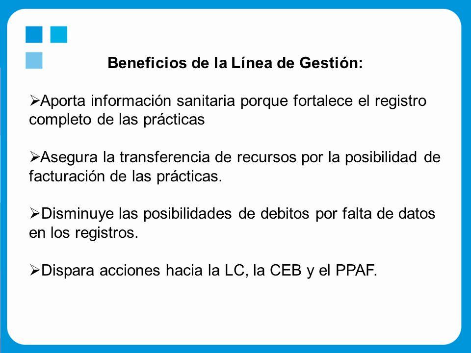 Beneficios de la Línea de Gestión:  Aporta información sanitaria porque fortalece el registro completo de las prácticas  Asegura la transferencia de recursos por la posibilidad de facturación de las prácticas.