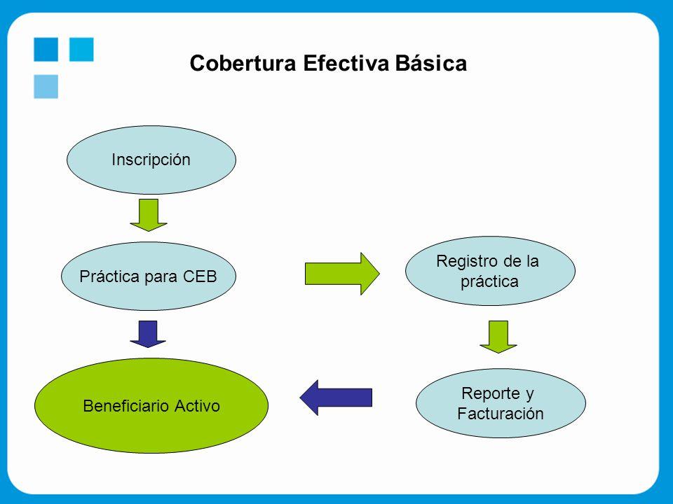 Cobertura Efectiva Básica Inscripción Práctica para CEB Registro de la práctica Reporte y Facturación Beneficiario Activo