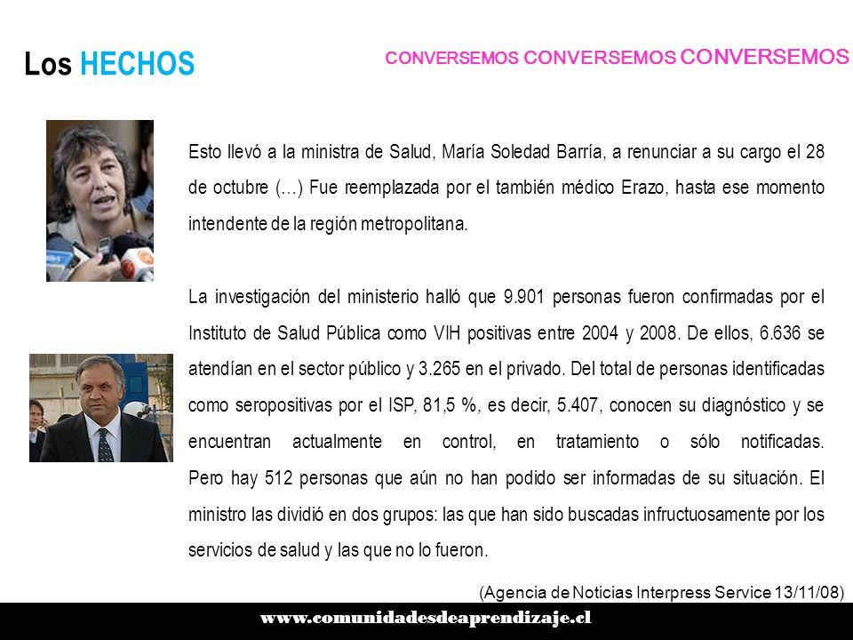 Los HECHOS Esto llevó a la ministra de Salud, María Soledad Barría, a renunciar a su cargo el 28 de octubre (…) Fue reemplazada por el también médico Erazo, hasta ese momento intendente de la región metropolitana.