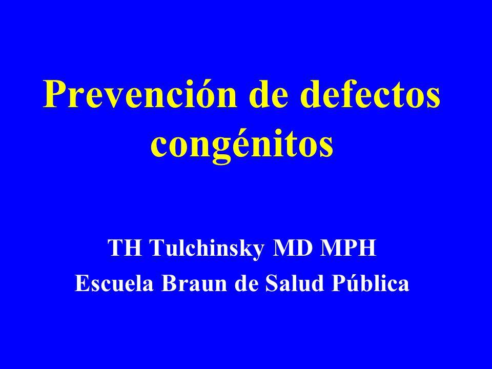 TH Tulchinsky MD MPH Escuela Braun de Salud Pública Prevención de defectos congénitos