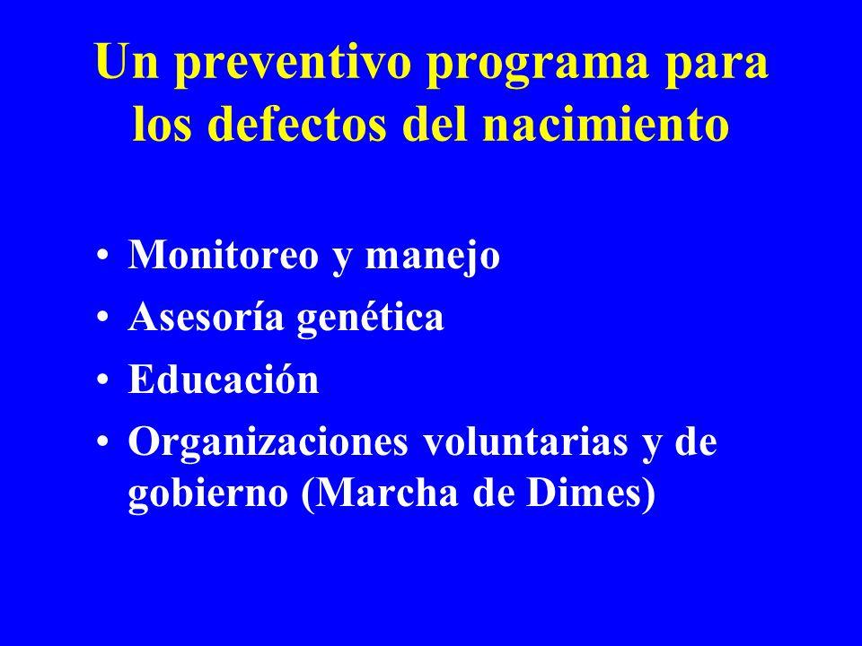 Un preventivo programa para los defectos del nacimiento Monitoreo y manejo Asesoría genética Educación Organizaciones voluntarias y de gobierno (Marcha de Dimes)
