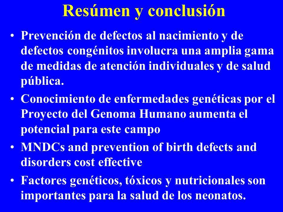 Resúmen y conclusión Prevención de defectos al nacimiento y de defectos congénitos involucra una amplia gama de medidas de atención individuales y de salud pública.