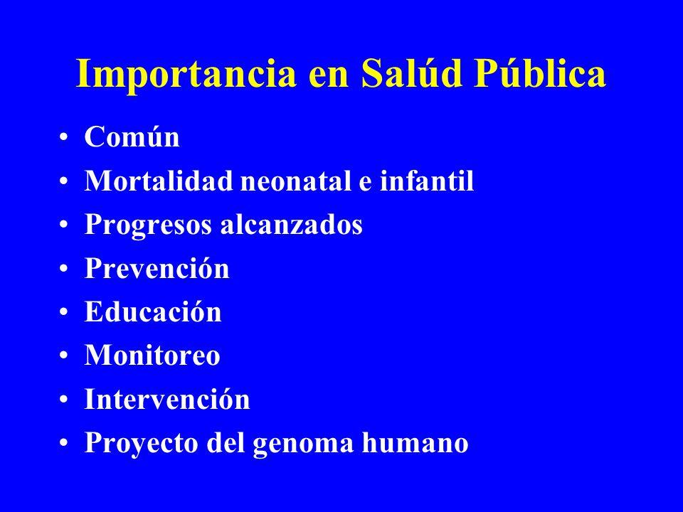 Importancia en Salúd Pública Común Mortalidad neonatal e infantil Progresos alcanzados Prevención Educación Monitoreo Intervención Proyecto del genoma humano