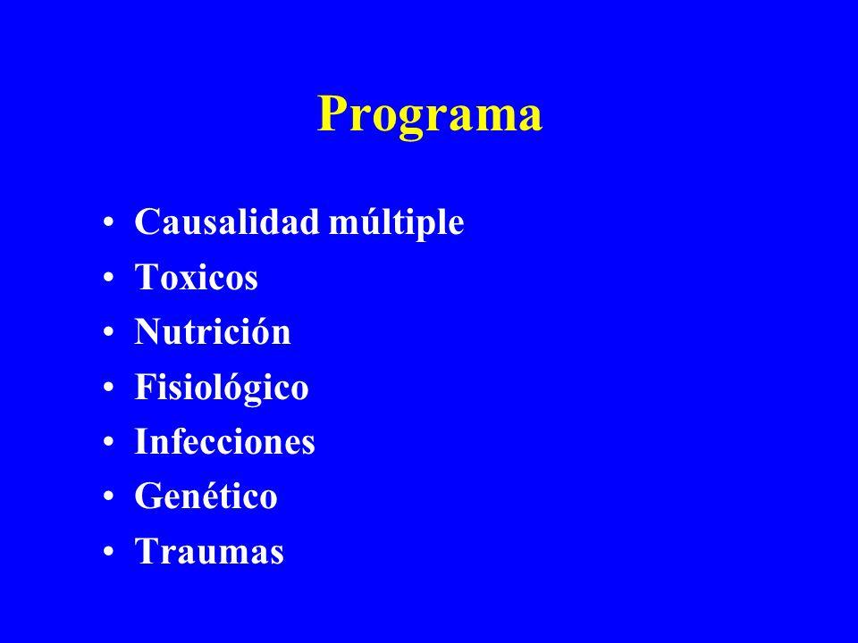 Programa Causalidad múltiple Toxicos Nutrición Fisiológico Infecciones Genético Traumas