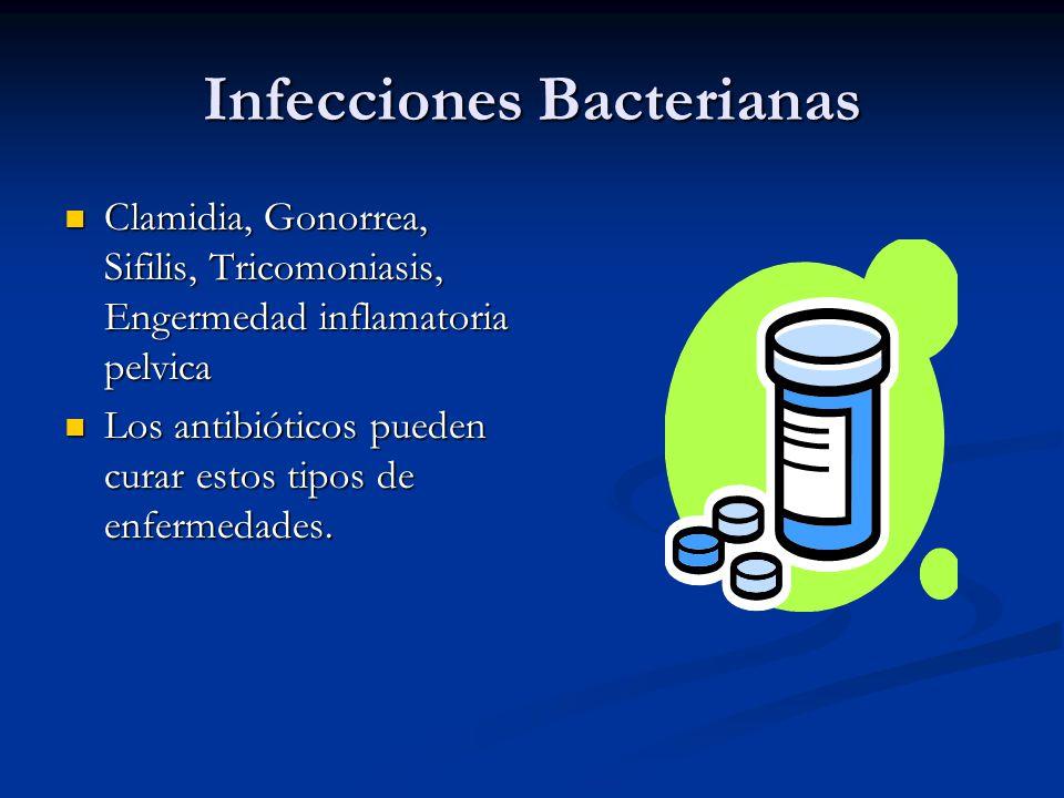 Infecciones Bacterianas Clamidia, Gonorrea, Sifilis, Tricomoniasis, Engermedad inflamatoria pelvica Clamidia, Gonorrea, Sifilis, Tricomoniasis, Engerm