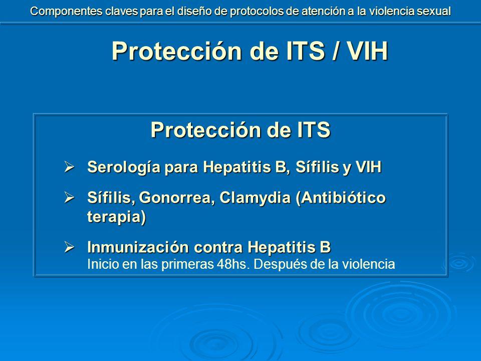 Protección de ITS  Serología para Hepatitis B, Sífilis y VIH  Sífilis, Gonorrea, Clamydia (Antibiótico terapia)  Inmunización contra Hepatitis B Inicio en las primeras 48hs.