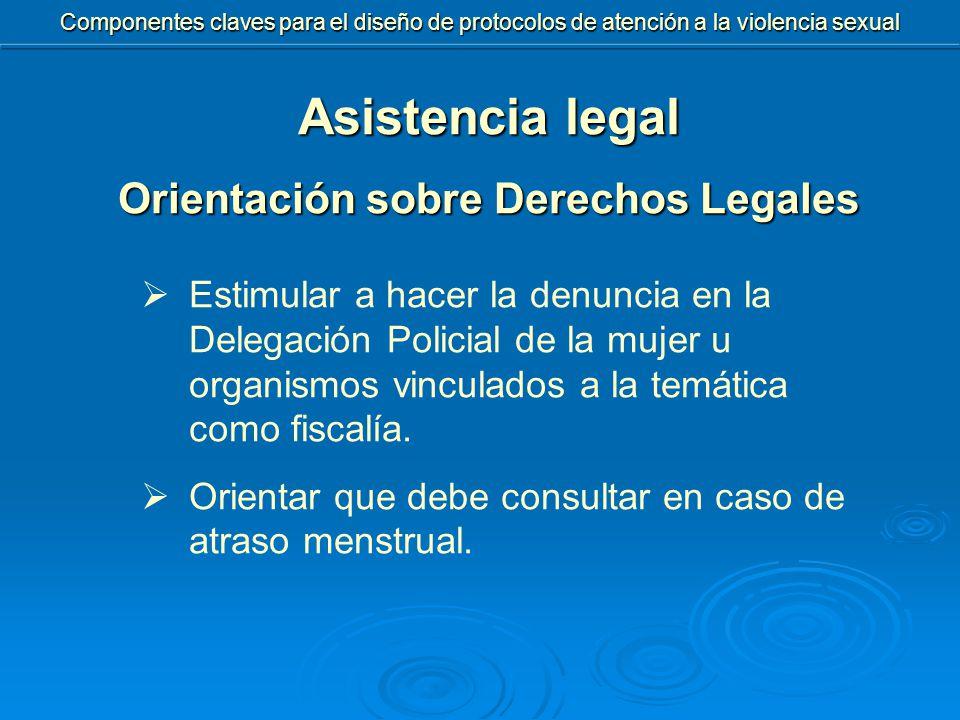 Asistencia legal Orientación sobre Derechos Legales  Estimular a hacer la denuncia en la Delegación Policial de la mujer u organismos vinculados a la temática como fiscalía.