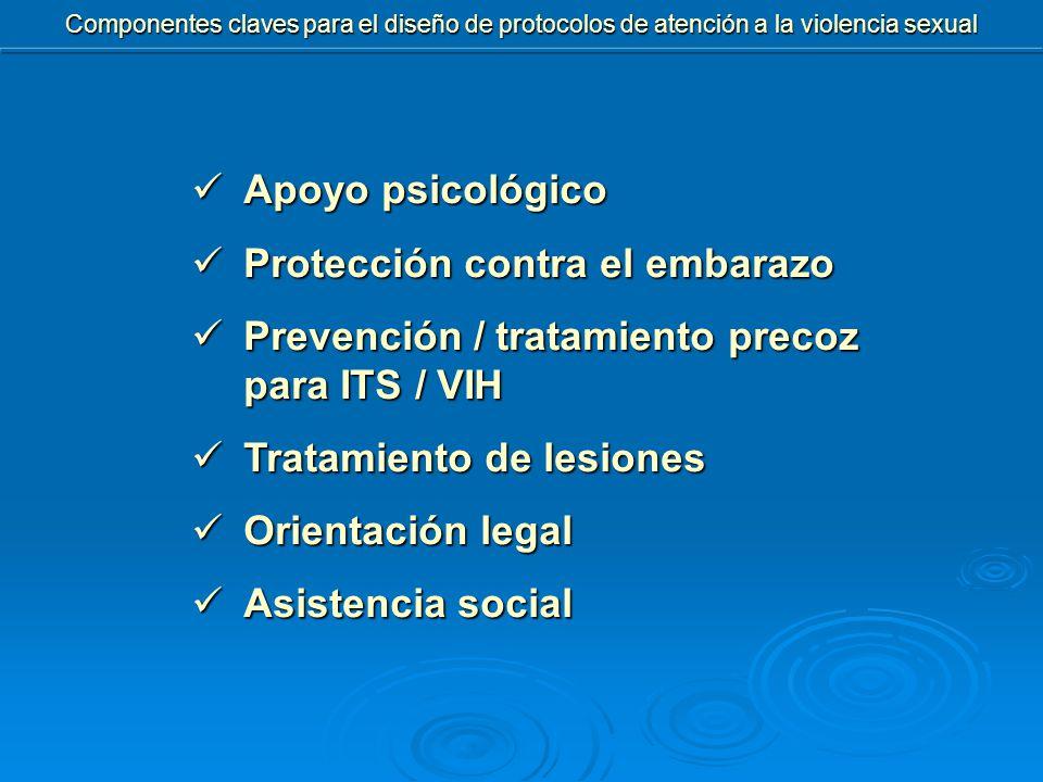 Componentes claves para el diseño de protocolos de atención a la violencia sexual Apoyo psicológico Apoyo psicológico Protección contra el embarazo Protección contra el embarazo Prevención / tratamiento precoz para ITS / VIH Prevención / tratamiento precoz para ITS / VIH Tratamiento de lesiones Tratamiento de lesiones Orientación legal Orientación legal Asistencia social Asistencia social