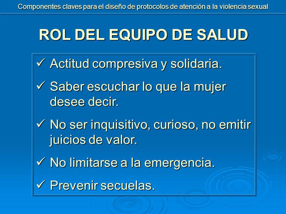 ROL DEL EQUIPO DE SALUD Actitud compresiva y solidaria.