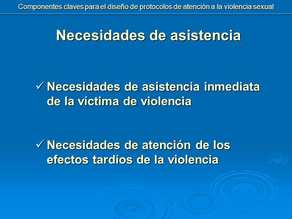 Componentes claves para el diseño de protocolos de atención a la violencia sexual Necesidades de asistencia inmediata de la víctima de violencia Necesidades de asistencia inmediata de la víctima de violencia Necesidades de atención de los efectos tardíos de la violencia Necesidades de atención de los efectos tardíos de la violencia Necesidades de asistencia