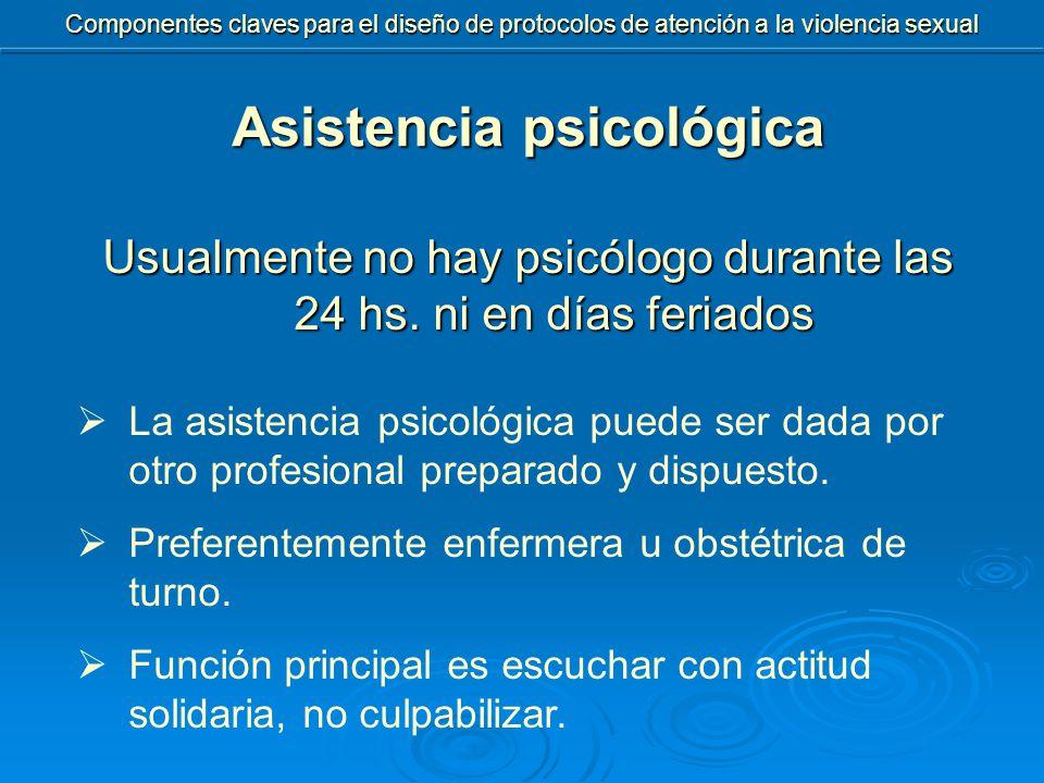 Usualmente no hay psicólogo durante las 24 hs.