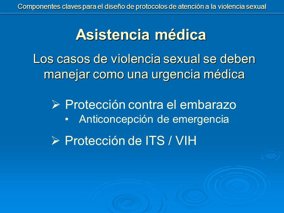  Protección contra el embarazo Anticoncepción de emergencia  Protección de ITS / VIH Asistencia médica Los casos de violencia sexual se deben manejar como una urgencia médica Componentes claves para el diseño de protocolos de atención a la violencia sexual