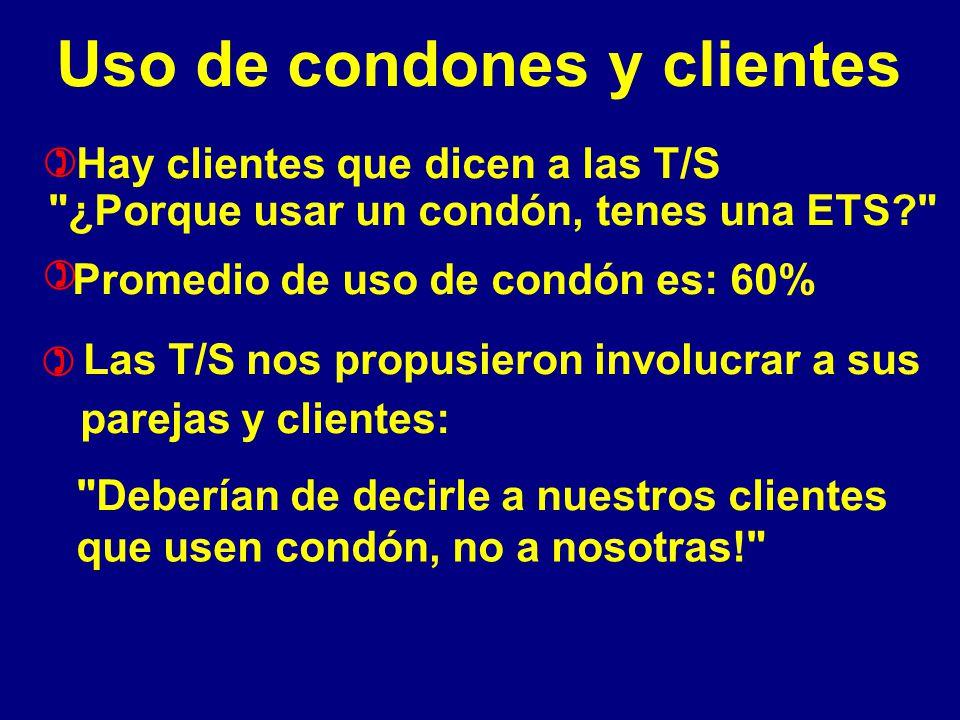 Uso de condones y clientes Hay clientes que dicen a las T/S ¿Porque usar un condón, tenes una ETS Promedio de uso de condón es: 60% Las T/S nos propusieron involucrar a sus parejas y clientes: Deberían de decirle a nuestros clientes que usen condón, no a nosotras! ) ) )