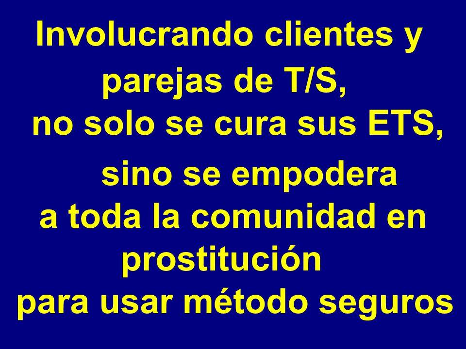 Involucrando clientes y parejas de T/S, no solo se cura sus ETS, sino se empodera a toda la comunidad en prostitución para usar método seguros