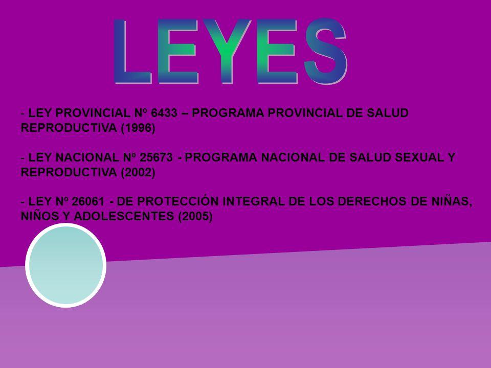 - LEY PROVINCIAL Nº 6433 – PROGRAMA PROVINCIAL DE SALUD REPRODUCTIVA (1996) - LEY NACIONAL Nº 25673 - PROGRAMA NACIONAL DE SALUD SEXUAL Y REPRODUCTIVA (2002) - LEY Nº 26061 - DE PROTECCIÓN INTEGRAL DE LOS DERECHOS DE NIÑAS, NIÑOS Y ADOLESCENTES (2005)