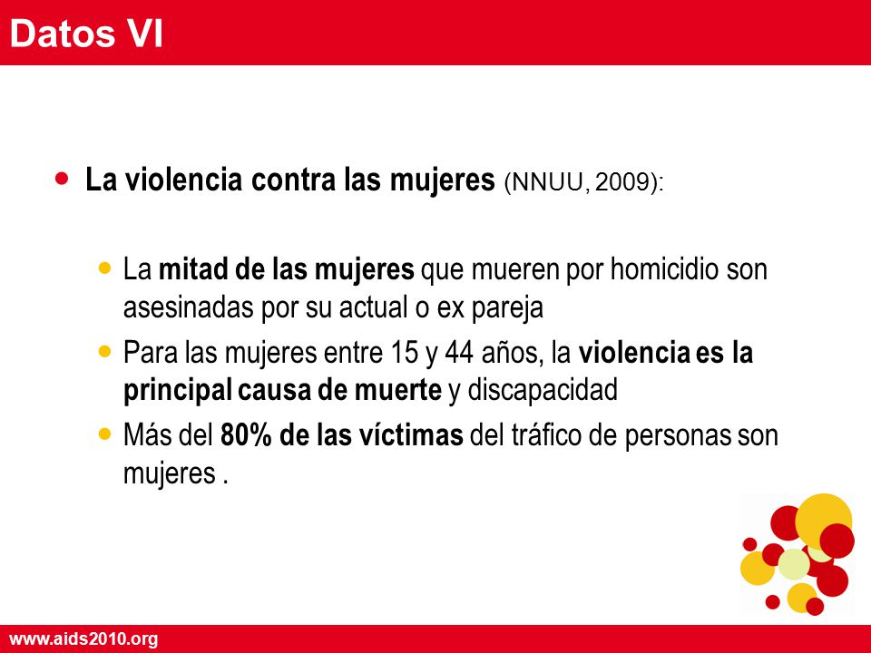 www.aids2010.org Datos VI La violencia contra las mujeres (NNUU, 2009): La mitad de las mujeres que mueren por homicidio son asesinadas por su actual o ex pareja Para las mujeres entre 15 y 44 años, la violencia es la principal causa de muerte y discapacidad Más del 80% de las víctimas del tráfico de personas son mujeres.