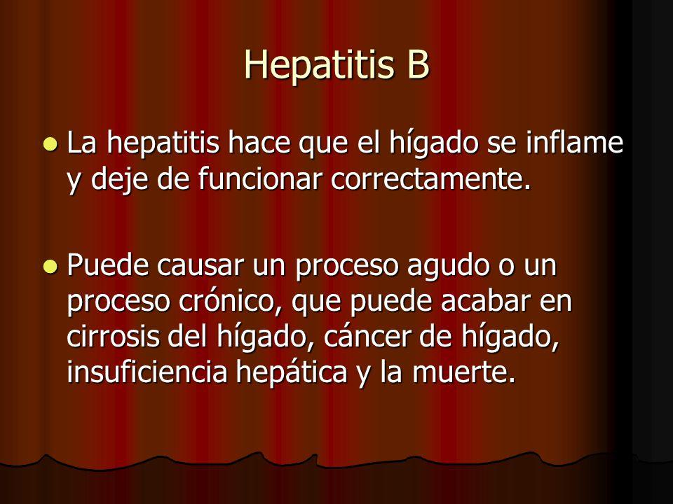 Hepatitis B La hepatitis hace que el hígado se inflame y deje de funcionar correctamente.