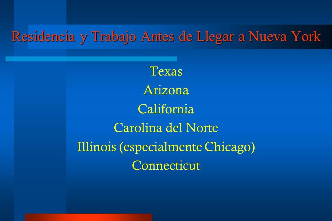 Residencia y Trabajo Antes de Llegar a Nueva York Texas Arizona California Carolina del Norte Illinois (especialmente Chicago) Connecticut
