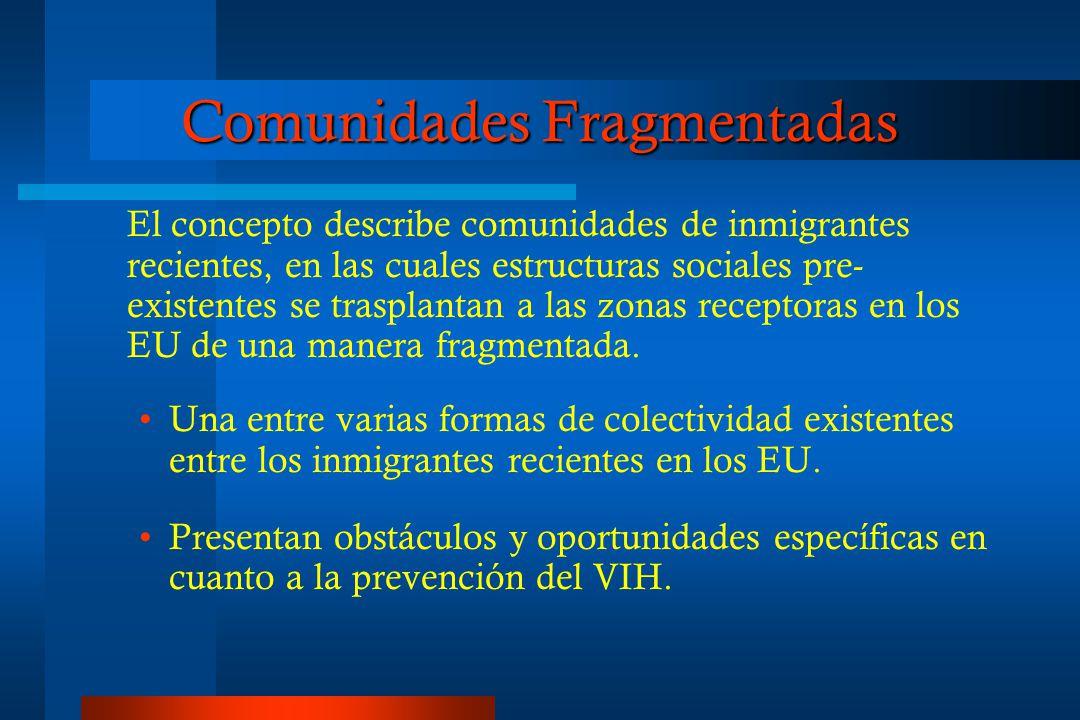 Comunidades Fragmentadas El concepto describe comunidades de inmigrantes recientes, en las cuales estructuras sociales pre- existentes se trasplantan a las zonas receptoras en los EU de una manera fragmentada.