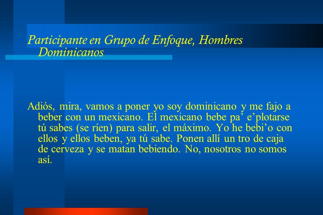 Participante en Grupo de Enfoque, Hombres Dominicanos Adiós, mira, vamos a poner yo soy dominicano y me fajo a beber con un mexicano.