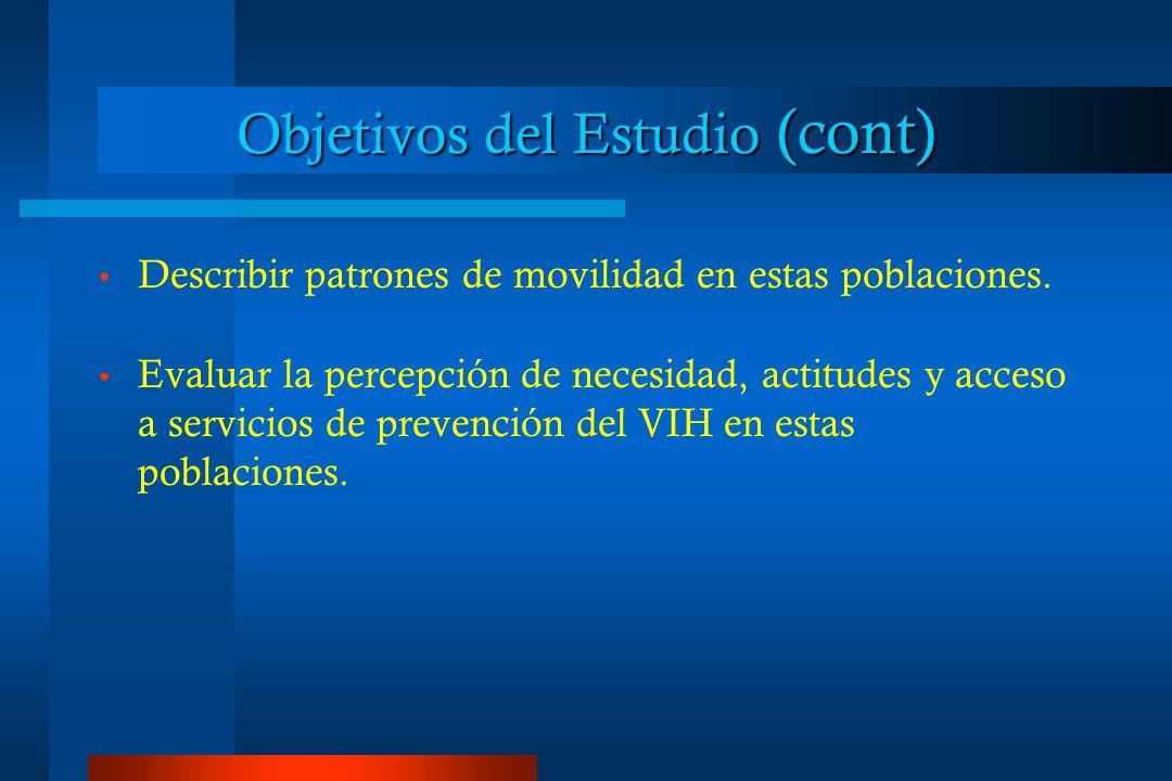 Objetivos del Estudio (cont) Describir patrones de movilidad en estas poblaciones.