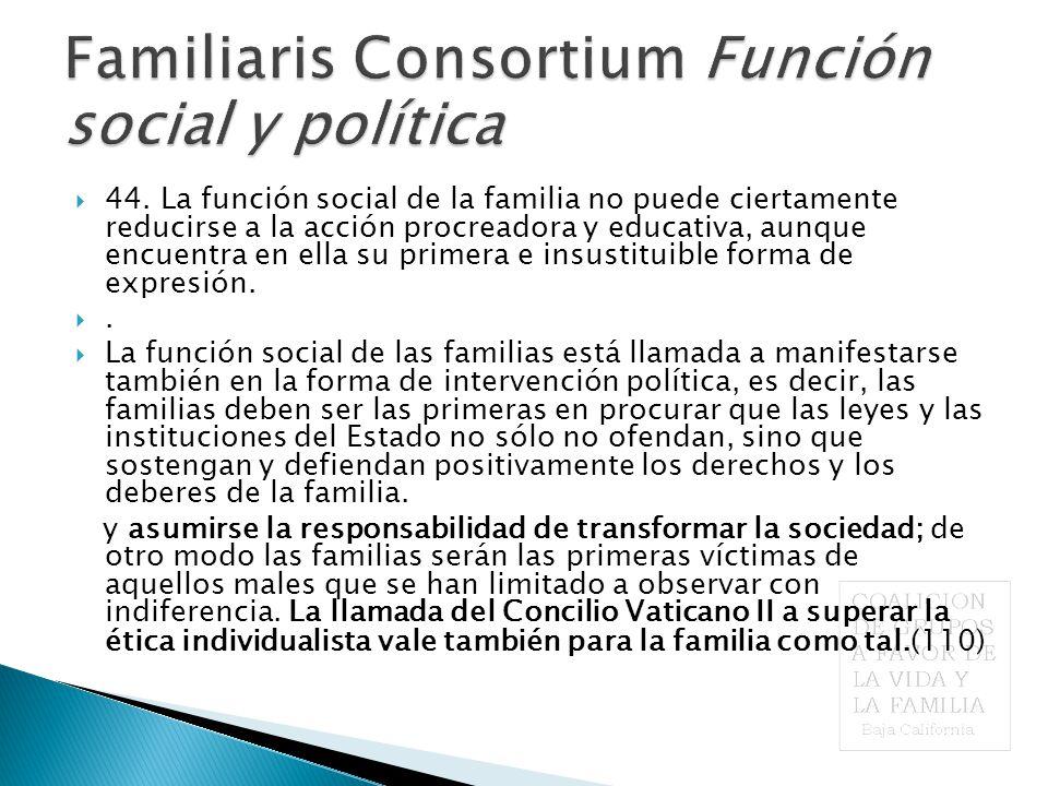 Familiaris Consortium Función social y política  44.