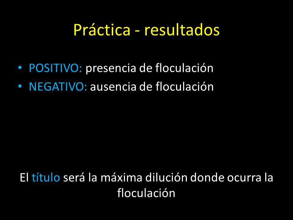 Práctica - resultados POSITIVO: presencia de floculación NEGATIVO: ausencia de floculación El título será la máxima dilución donde ocurra la floculación