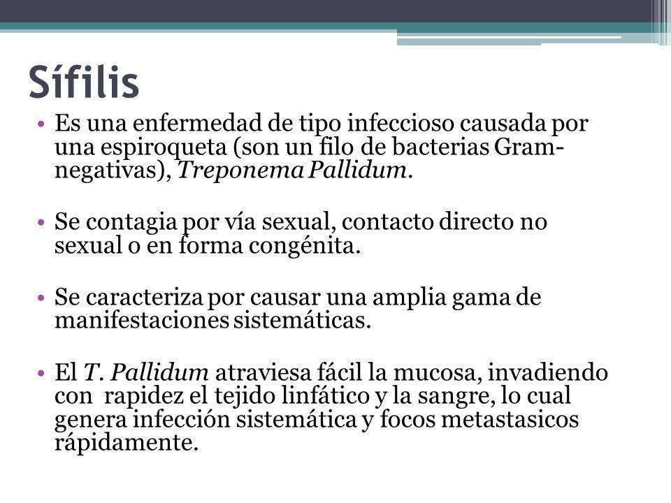 Sífilis Es una enfermedad de tipo infeccioso causada por una espiroqueta (son un filo de bacterias Gram- negativas), Treponema Pallidum.