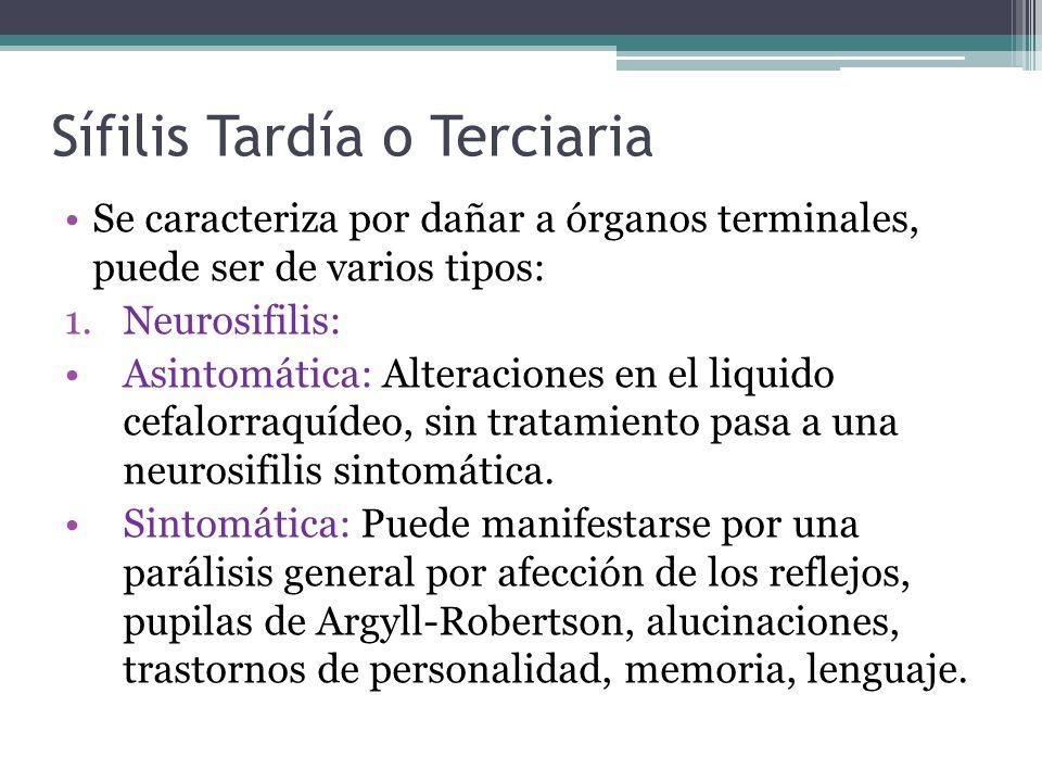 Sífilis Tardía o Terciaria Se caracteriza por dañar a órganos terminales, puede ser de varios tipos: 1.Neurosifilis: Asintomática: Alteraciones en el liquido cefalorraquídeo, sin tratamiento pasa a una neurosifilis sintomática.