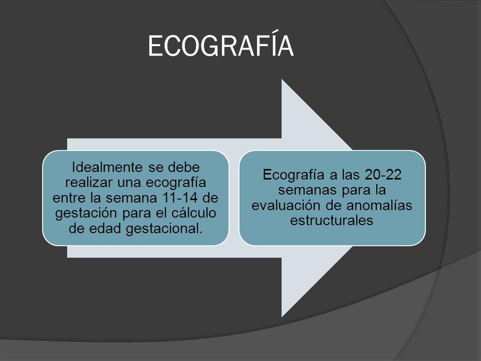 ECOGRAFÍA Idealmente se debe realizar una ecografía entre la semana 11-14 de gestación para el cálculo de edad gestacional.