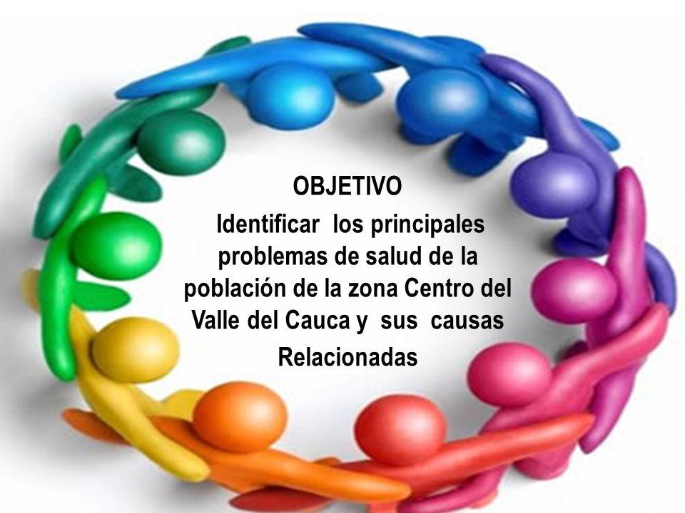 OBJETIVO Identificar los principales problemas de salud de la población de la zona Centro del Valle del Cauca y sus causas Relacionadas