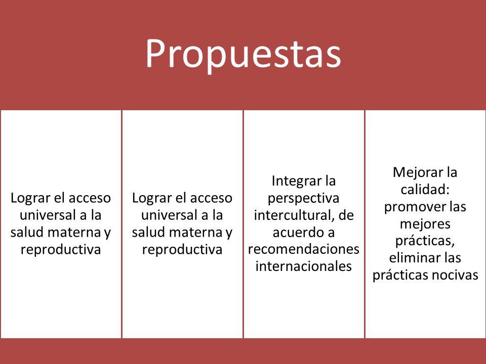 Propuestas Lograr el acceso universal a la salud materna y reproductiva Integrar la perspectiva intercultural, de acuerdo a recomendaciones internacionales Mejorar la calidad: promover las mejores prácticas, eliminar las prácticas nocivas