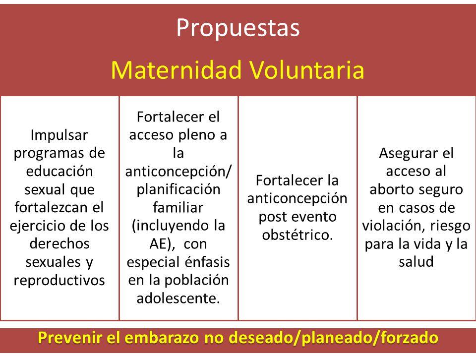 Propuestas Maternidad Voluntaria Impulsar programas de educación sexual que fortalezcan el ejercicio de los derechos sexuales y reproductivos Fortalecer el acceso pleno a la anticoncepción/ planificación familiar (incluyendo la AE), con especial énfasis en la población adolescente.