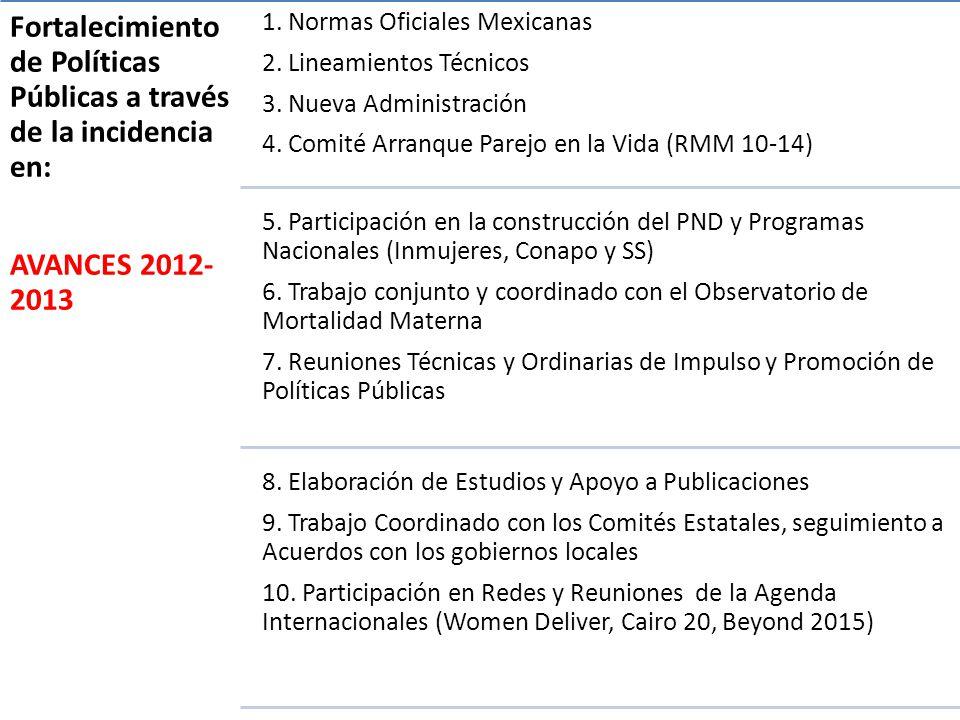 Fortalecimiento de Políticas Públicas a través de la incidencia en: AVANCES 2012- 2013 1.