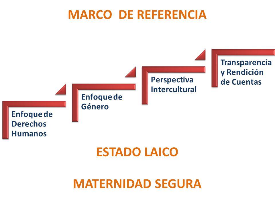 Enfoque de Derechos Humanos Enfoque de Género Perspectiva Intercultural Transparencia y Rendición de Cuentas MATERNIDAD SEGURA ESTADO LAICO MARCO DE REFERENCIA