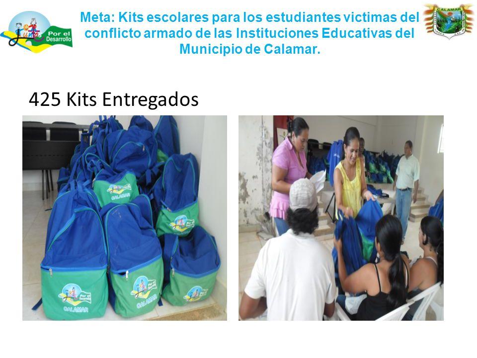 Meta: Kits escolares para los estudiantes victimas del conflicto armado de las Instituciones Educativas del Municipio de Calamar.