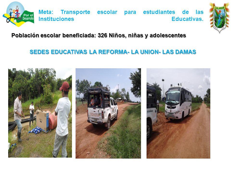 Meta: Transporte escolar para estudiantes de las Instituciones Educativas.