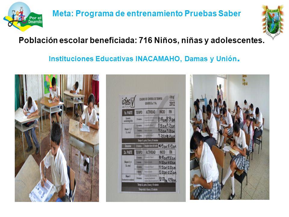 Meta: Programa de entrenamiento Pruebas Saber Población escolar beneficiada: 716 Niños, niñas y adolescentes.