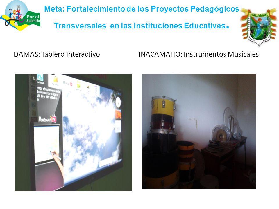 Meta: Fortalecimiento de los Proyectos Pedagógicos Transversales en las Instituciones Educativas.